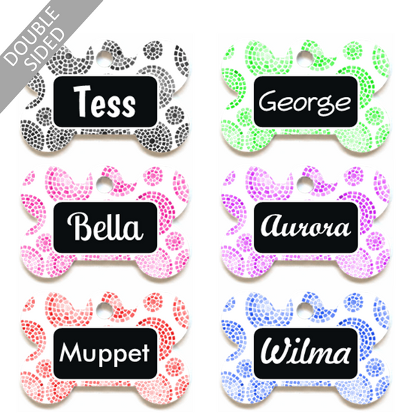Personalised Pet ID Tag - Bone Shape - Abstract Watercolour Circles - Dog Name Tag