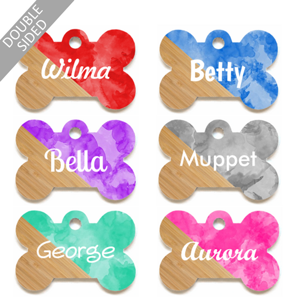 Personalised Pet ID Tag - Bone Shape - Wood & Watercolours - Dog Name Tag