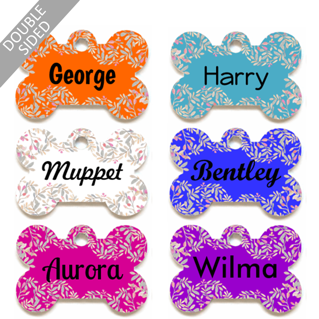Personalised Pet ID Tag - Bone Shape - Leaf Print - Dog Name Tag