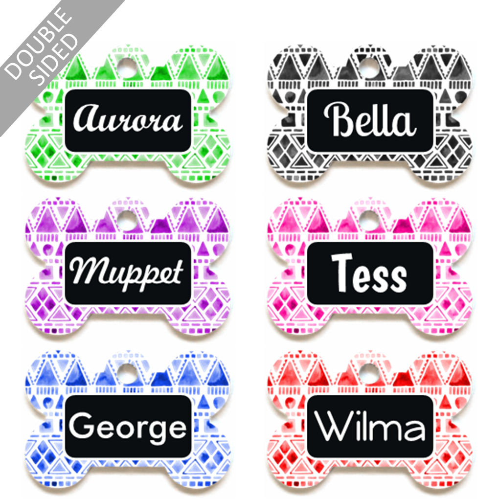 Personalised Pet ID Tag - Bone Shape - Tribal Watercolour Pattern - Dog Name Tag