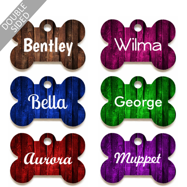 Personalised Pet ID Tag - Bone Shape - Wood Pattern - Dog Name Tag