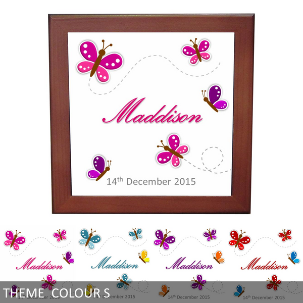 Personalised Baby's Name & Birth Date Ceramic Tile Print - Butterflies - Keepsake