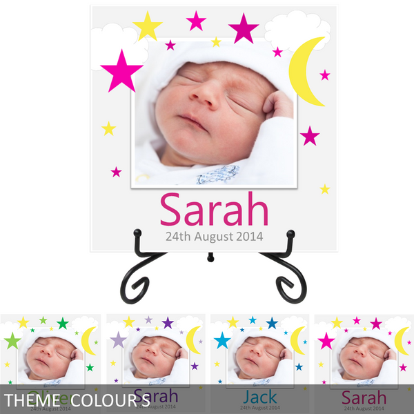 Personalised Baby's Name & Birth Date Ceramic Photo Tile Print - Stars & Moon - Keepsake