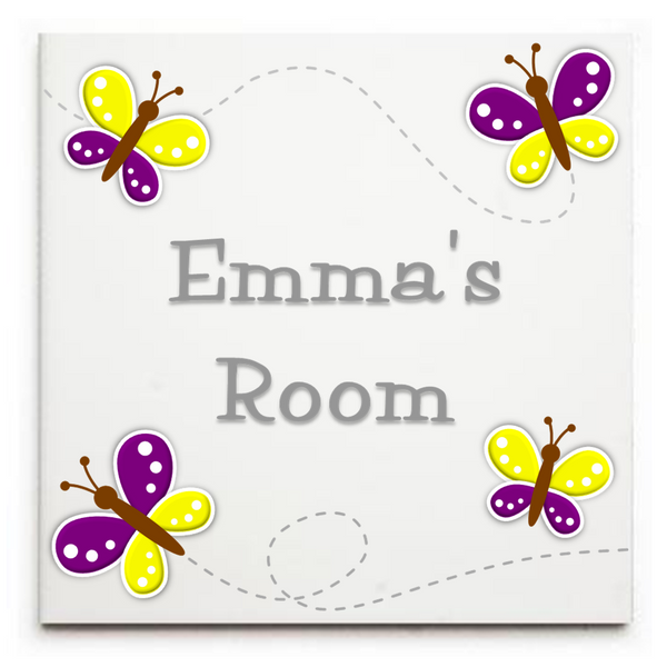 Personalised Butterflies Sign/Plaque - Ceramic Tile Print - Door Sign