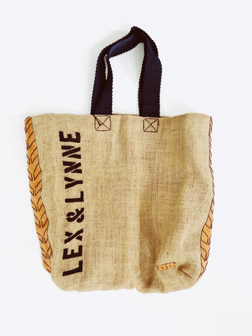 Dutzi Burlap Tote Bag in Navy - Lex & Lynne