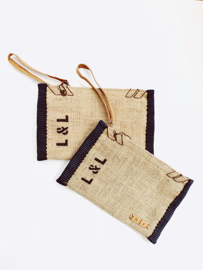 Dutzi Burlap Clutch in Black - Lex & Lynne