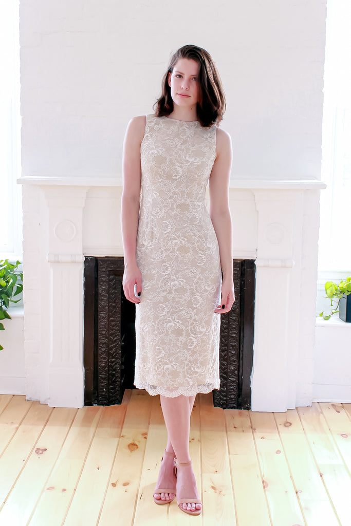 Ivory Lace Cocktail Dress