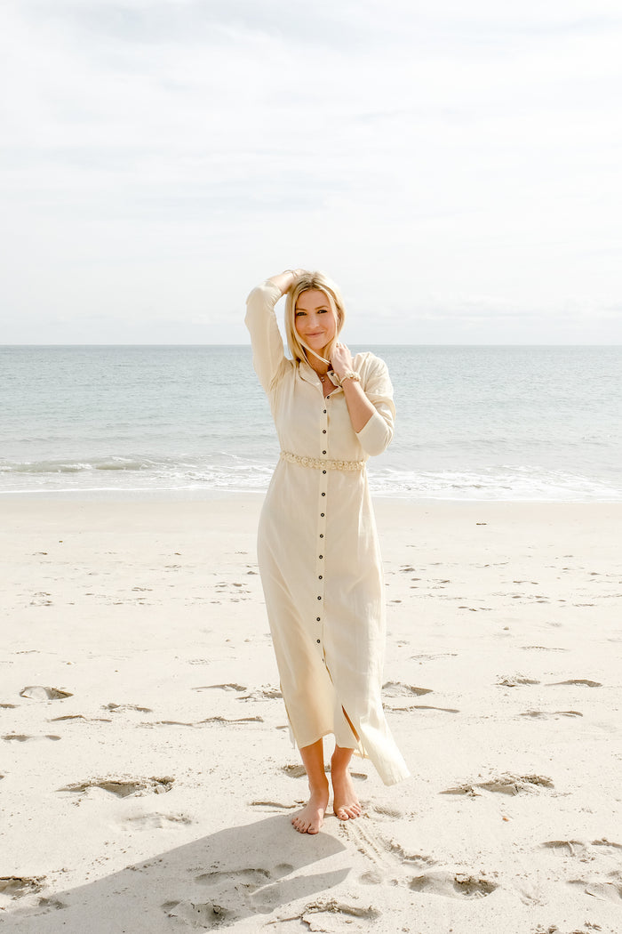 Natural Cotton Maxi Dress with Belt - Lex & Lynne