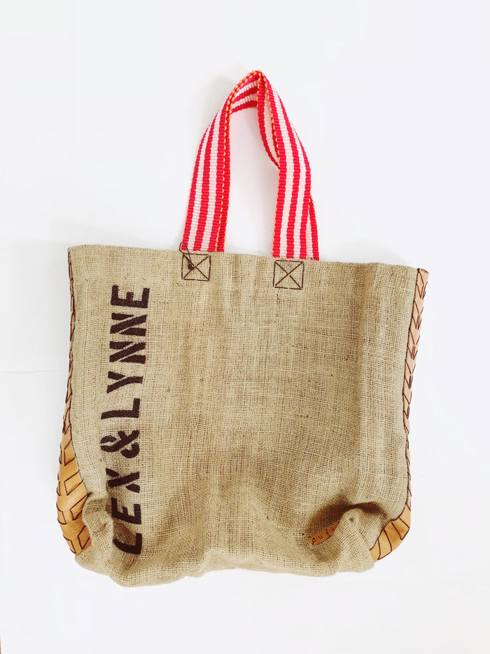 Dutzi Burlap Tote Bag in Red Stripe