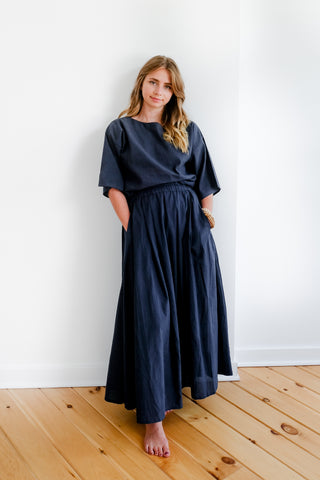 Cotton Maxi Skirt in Indigo