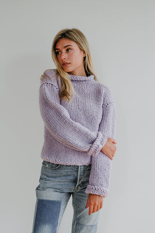 Lavender Wool Mockneck Sweater