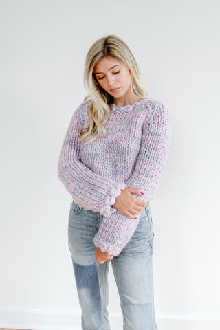 Blush and Grey Merino Wool Sweater
