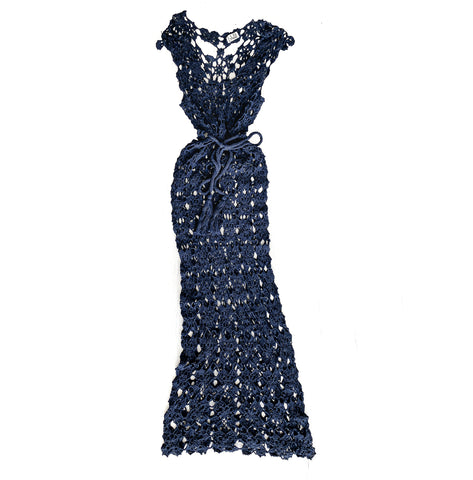Crochet Maxi Dress in Navy - Lex & Lynne