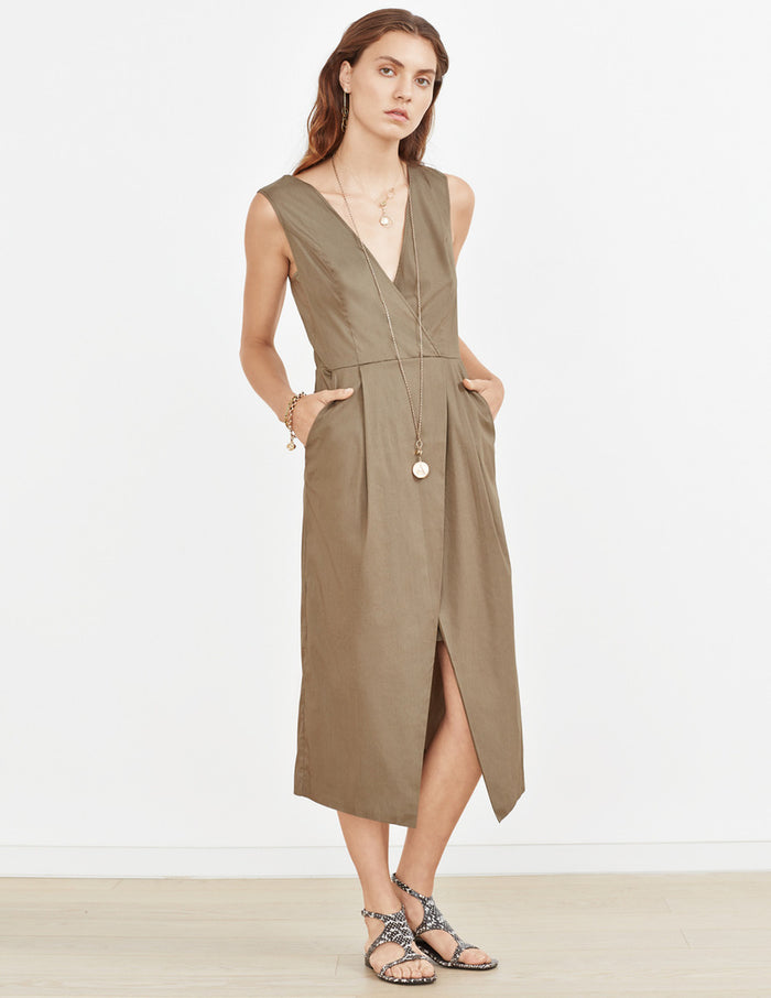 Faux Wrap Sleeveless Dress - Lex & Lynne