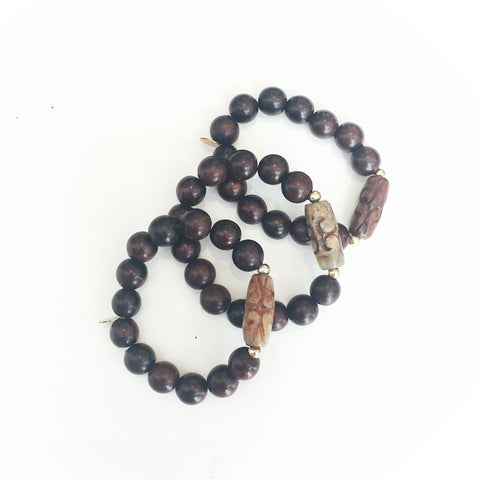 Amber Wooden Beads