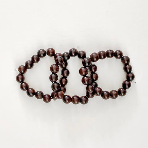 Rosewood Beaded Bracelet with Silver - Lex & Lynne