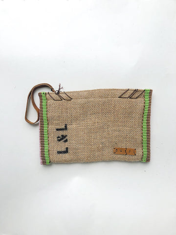 Dutzi Burlap Clutch in Multi - Lex & Lynne