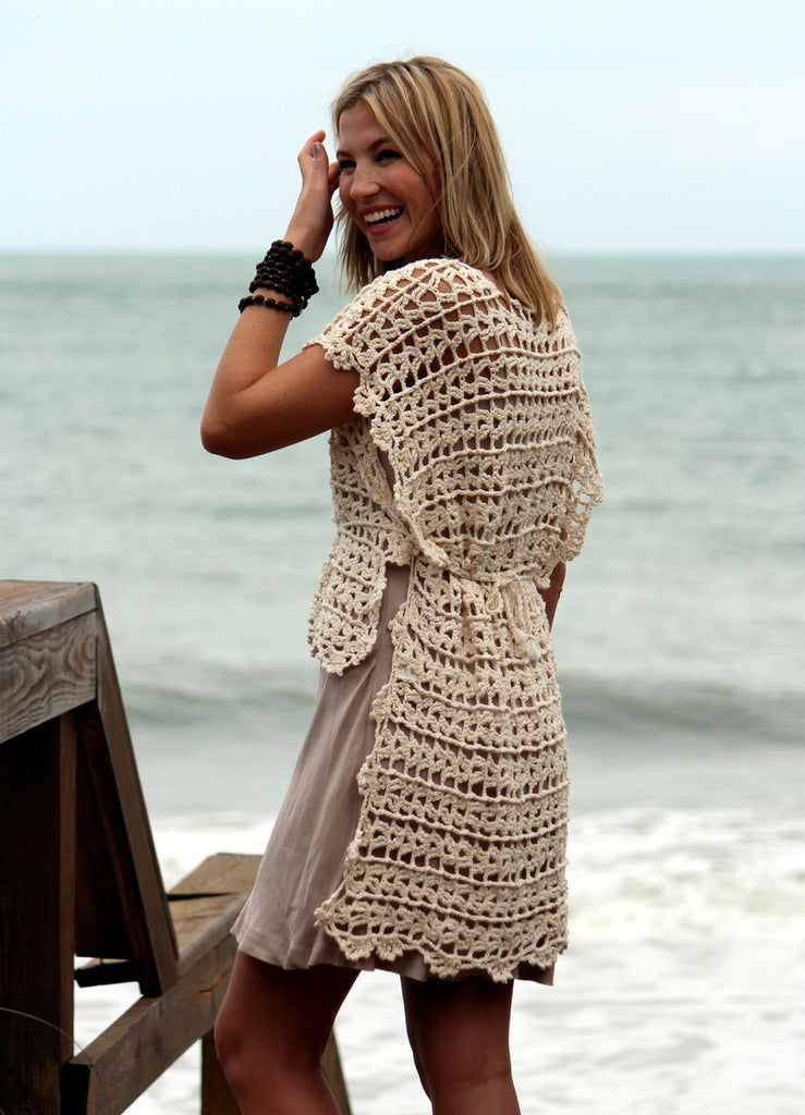 LEX & LYNNE Open Knit Hi-Lo Cover Up