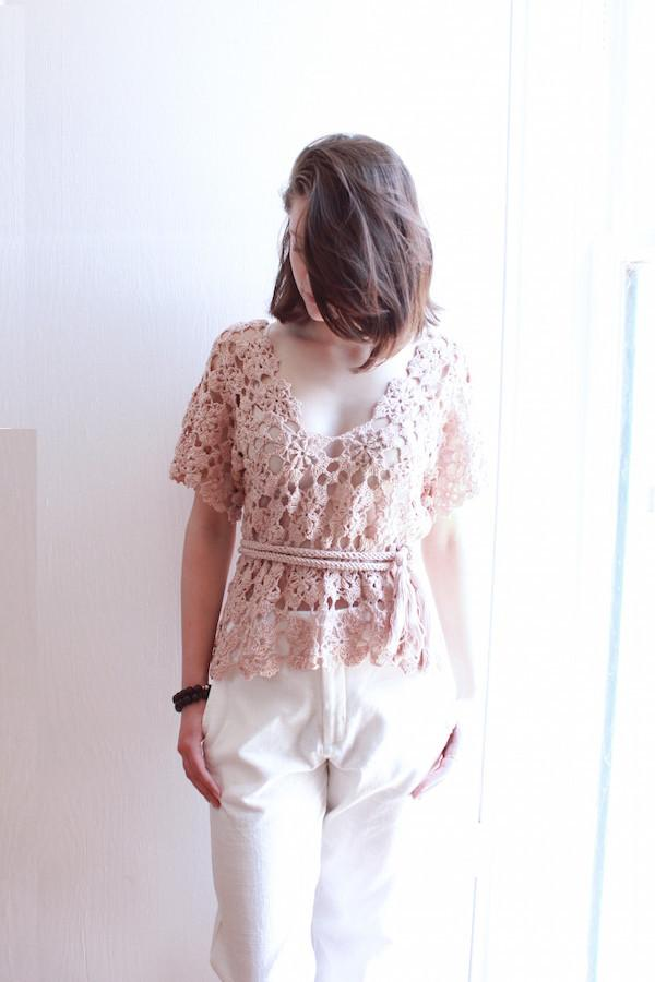 Mauve Knit Blouse with Tie