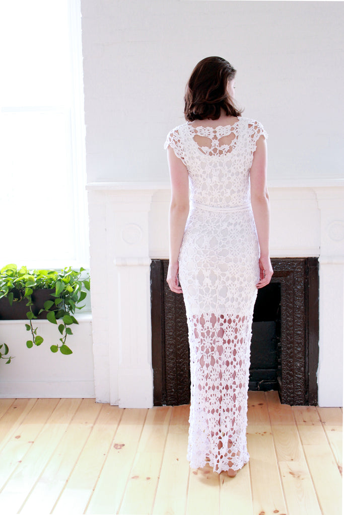Crochet Maxi Dress in White - Lex & Lynne