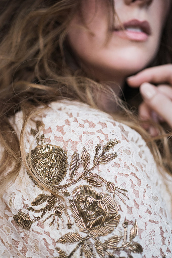 Gold Embroidered Lace Dress - Lex & Lynne
