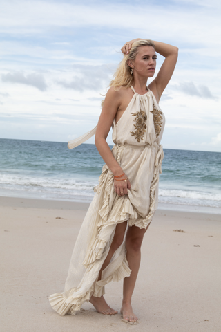 Metallic Beaded Maxi Dress - Lex & Lynne
