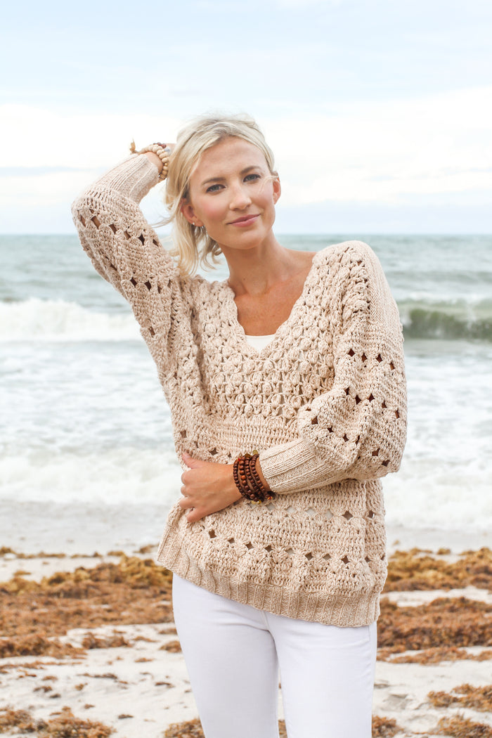 Popcorn Sweater in Blush