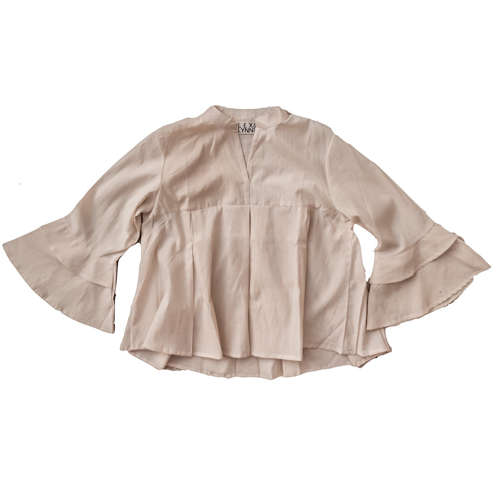 Natural Cotton Ruffle Blouse - Lex & Lynne