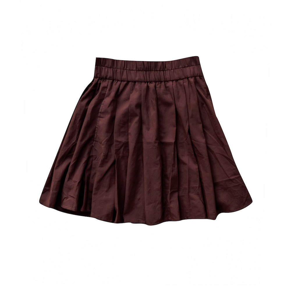 Cotton Mini Skirt in Burgundy - Lex & Lynne