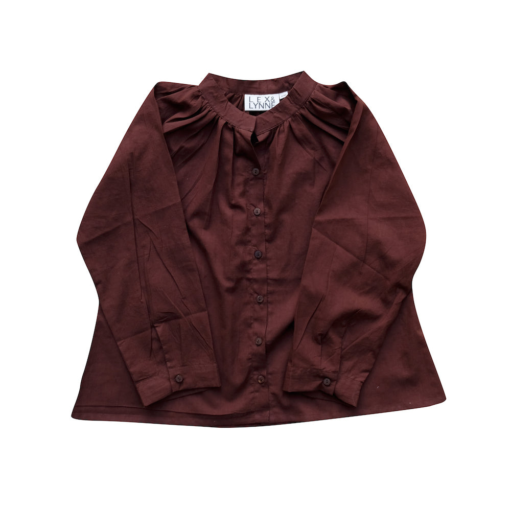 Cotton Blouse in Burgundy - Lex & Lynne