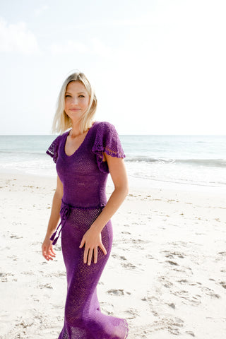 Ruffle Maxi Dress in Grape