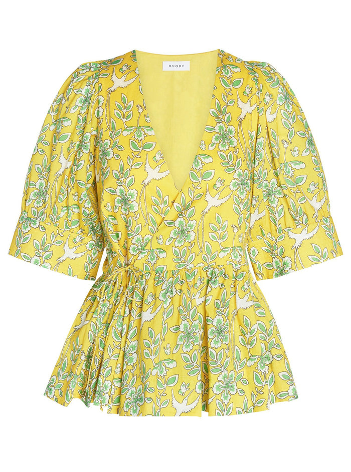 Ava Top in Floral Yellow - Lex & Lynne