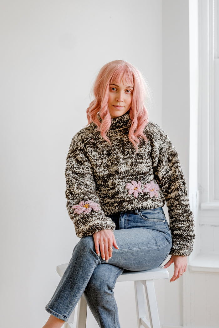 Pepper Floral in Pink 100% Sustainable Sweater - Lex & Lynne