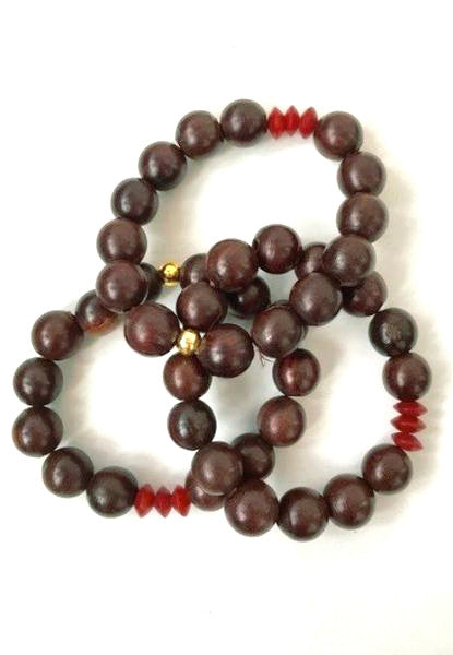 Rosewood Bracelet with Coral - Lex & Lynne
