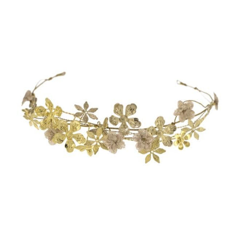 Rose Gold Flower Crown with Dragonflies