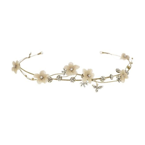 Blush Flower Crown with Dragonflies