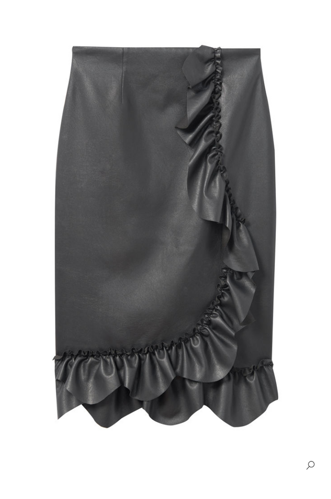 Vegan Leather Ruffle Skirt in Black