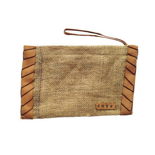 DUTZI Small Vintage Burlap Pouch With Leather
