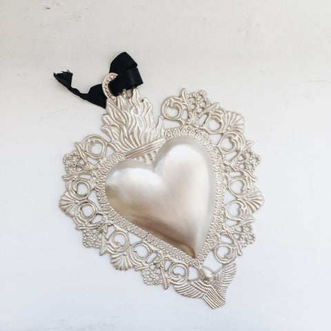 Silver Plated Heart Milagro
