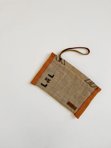 Dutzi Burlap Clutch in Orange - Lex & Lynne