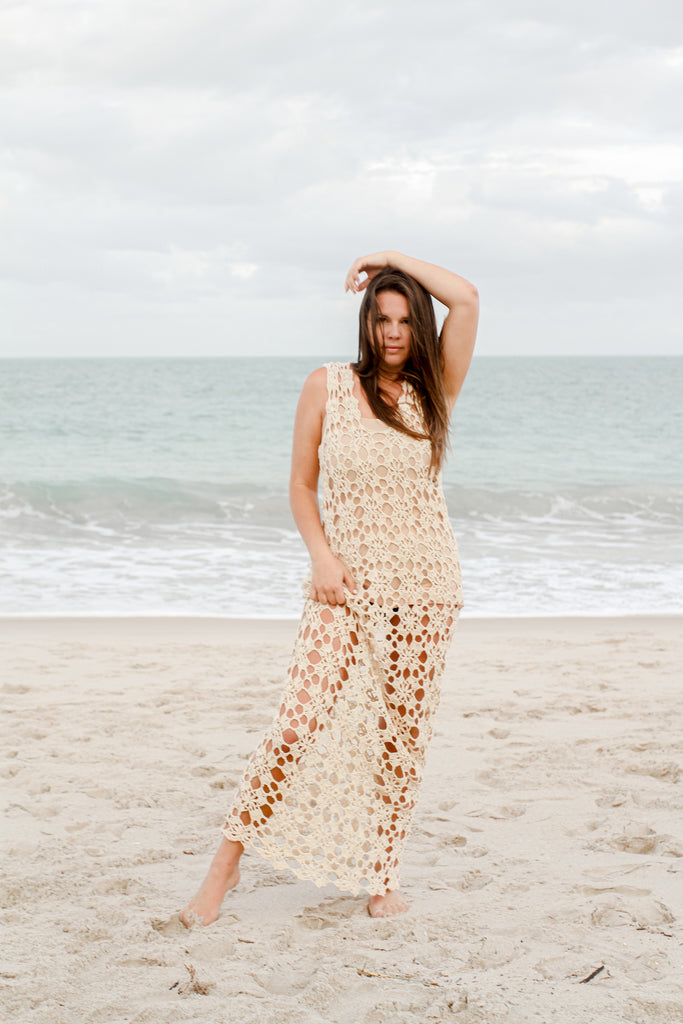 Crochet Maxi Dress in Beige - Lex & Lynne
