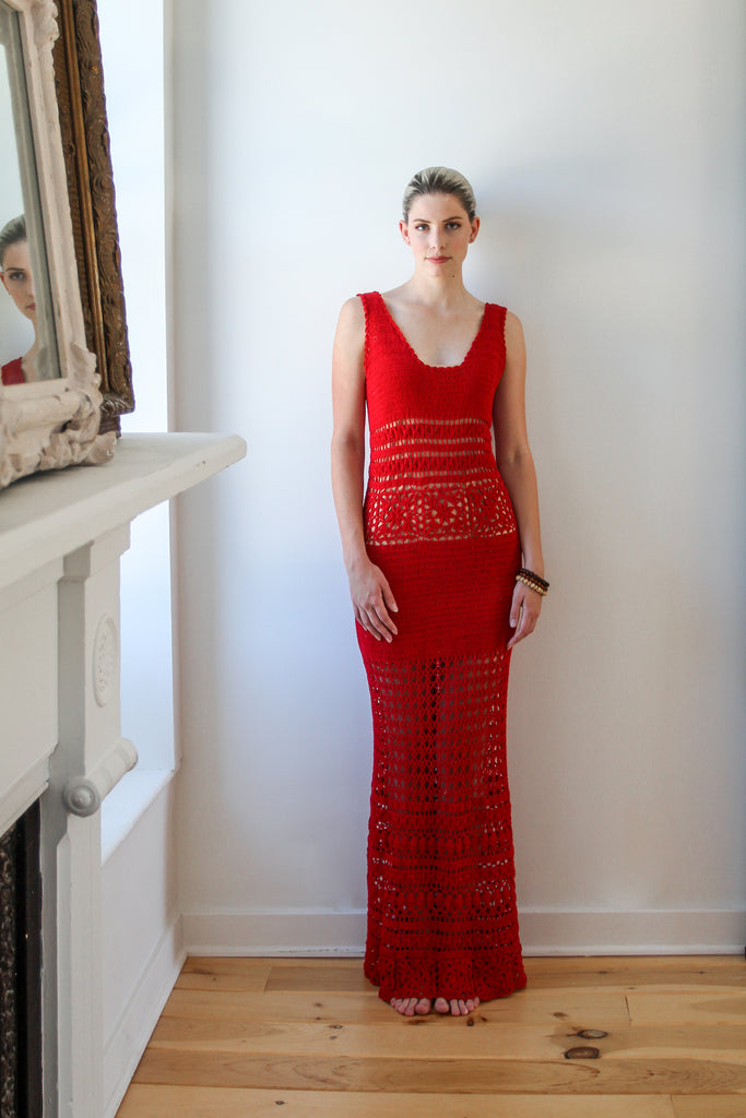 Rebecca Knit Maxi Dress in Hot Chili - Lex & Lynne