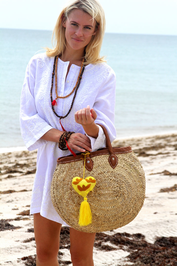 Round Market Tote Without Tassel