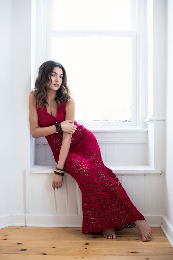 Rebecca Knit Maxi Dress in Hot Chili