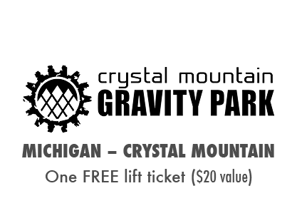 2017 MTBparks Pass members receive one free lift ticket to Crystal Mountain Bike Park.