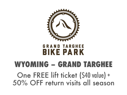 2017 MTBparks Pass members receive a free Grand Targhee Bike Park receive one free lift ticket plus 50% off return visits all summer. #NoExcuses #Summer #BIkeParkRoadTrip