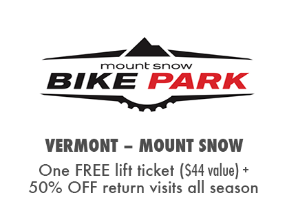 Get a Free Lift Ticket, Plus 50% OFF return visits at Mount Snow Bike Park, VT.