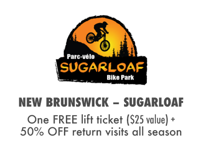 Get a Free Lift Ticket, Plus 50% OFF return visits at Sugarloaf Bike Park, NB Canada