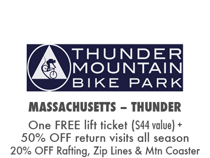 Receive one free lift ticket at Thunder Mountain plus 50% off return visits + 20% off Mountain Coaster, Zip Line Tours and Rafting Trips