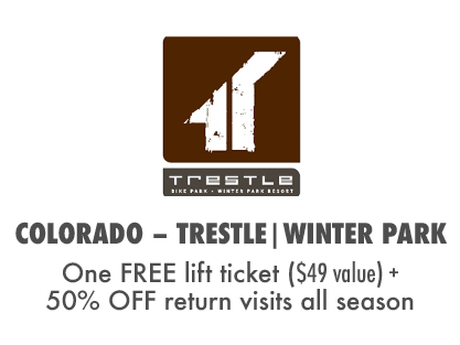 Receive one free lift ticket at Trestle Bike Park plus 50% off return visits
